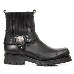 Black Leather New Rock Motorcycle Ankle Boots