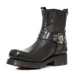 Bottines New Rock Motorcycle en Cuir Noir