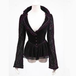 Purple Gothic Elegant 'Vampiress' Jacket-Blouse