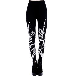 Leggings 'White Branches' Noir et Blanc