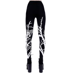 White and Black 'White Branches' Leggings