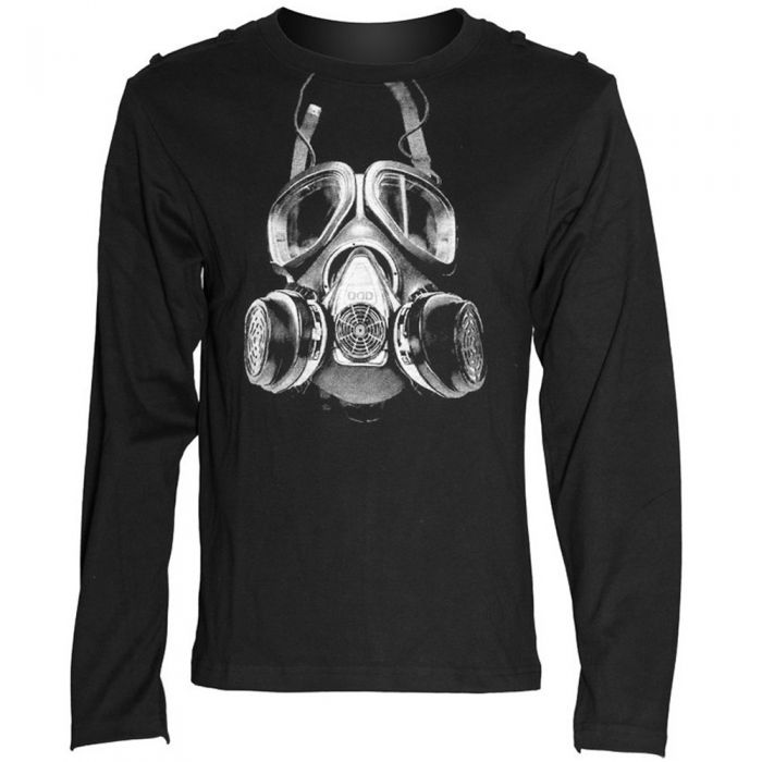 Black Long Sleeve Sweater 'Printed Gas Mask'