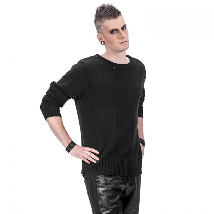 Black Long Sleeves Sweater with Cross
