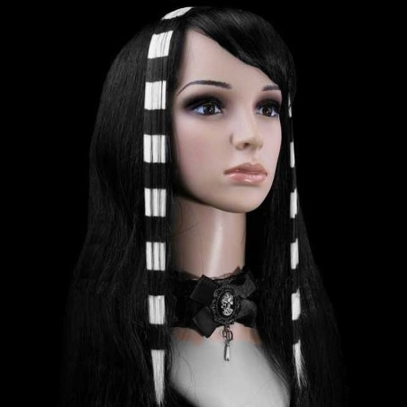 White and Black Stripes Clip In Hair Extensions