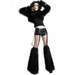 Black 'Furriku' Shorts and Legwarmers