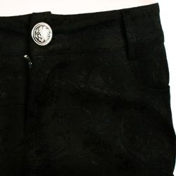 Black 'Darkness' Brocade Shorts with Lace