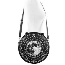 'Luna Round Bag' made of Solid Black Faux Leather