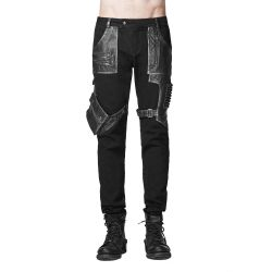 Pantalon 'The Hunter' en Denim et Simili Cuir Noirs