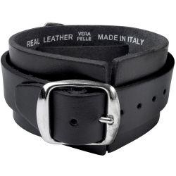 Bracelet 'Thunderhammer' en Cuir Noir