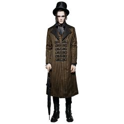 Brown 'Edward' Steampunk Stripped Coat