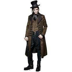 Manteau Steampunk Marron à Rayures 'Edward'