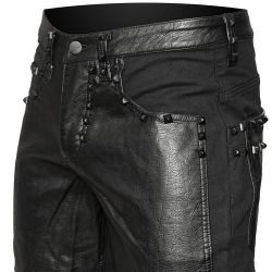 Black Cotton and Leather Look Pants 'Double Jeu'