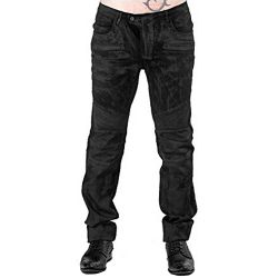 Black 'Titan' Used-Look Pants