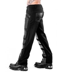 Black Pants with Metal Plate Look Application