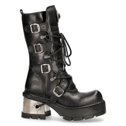 Black Itali and Nomada Leather New Rock Metallic Boots