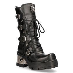 Black Itali and Nomada Leather New Rock Metallic Boots