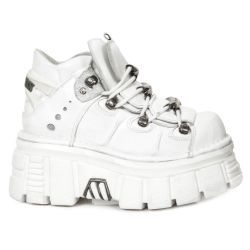 Chaussures New Rock Metallic en Cuir Napa Blanc