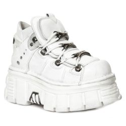 Chaussures New Rock Metallic en Cuir Napa Blanc