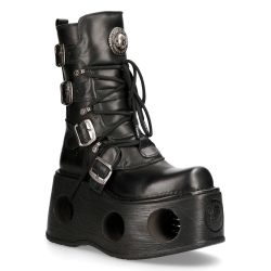 Black Itali and Nomada Leather New Rock Metallic Platform Boots
