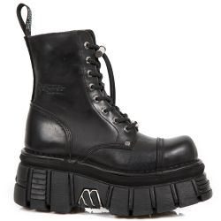 Bottines Plateformes New Rock Newmili en Cuir Noir