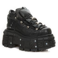 Chaussures Plateformes New Rock Tank en Cuir Itali et Nomada Noirs