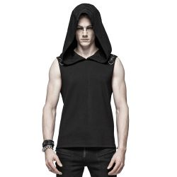 Black 'Nostromo' Sleeve Less Hooded T-Shirt