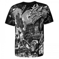 Black 'Viking Dragon Slayer' T-Shirt