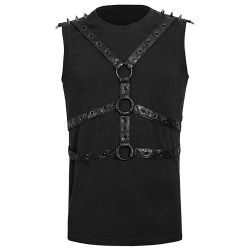 Black Sleeve Less T-Shirt with Harness and O-Rings
