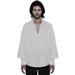 White 'Viscount' Gothic Shirt