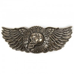 Golden Belt Buckle 'Skull Wings'