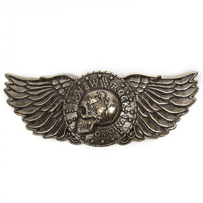 Boucle de Ceinture Skull Wings Dorée