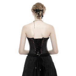 Black and Red Brocade Embroidered 'Vampiress' Corset