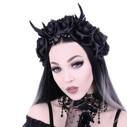 Gothic Wreath 'Antlers, Roses & Beads' Headband