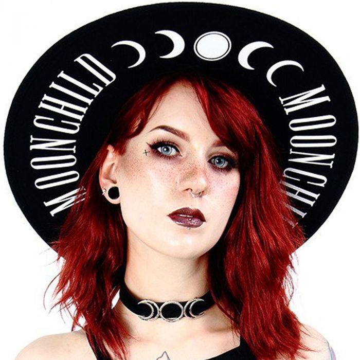 Chapeau Gothique à Large Bord Noir 'Moon Child'