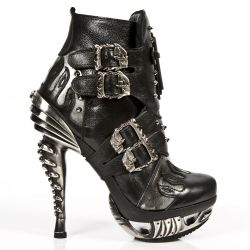 Black Nomada and Steel Pulik Leather New Rock Magneto Ankle Boots