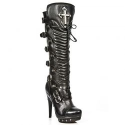 Black Nomada Leather New Rock Punk High Boots