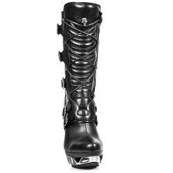 Black Nomada Leather New Rock Magneto Boots