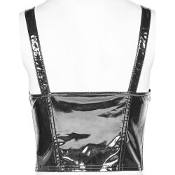 Black Vegan Leather and Vinyl 'Toxica' Top with Braces