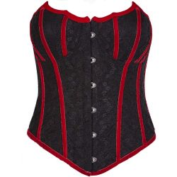 Black and Red Lace and Jacquard Embroidered 'Vampire Bat' Corset