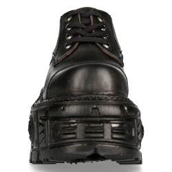 Black Itali and Nomada Leather New Rock Tank Platform Shoes
