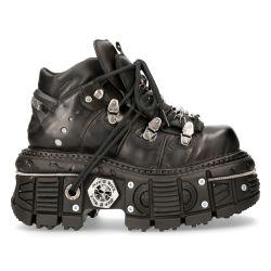 Chaussures Plateformes New Rock Tank en Cuir Itali et Pulik Noirs