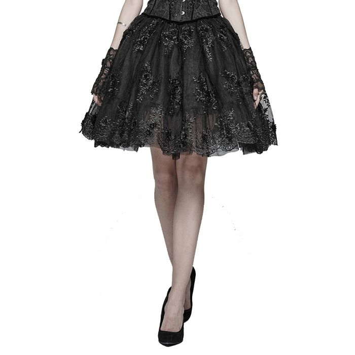 Black Short Skirt 'Ophelia' in Black Lace