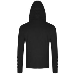 Black Hooded Long Sleeves 'Nergal' Sweater