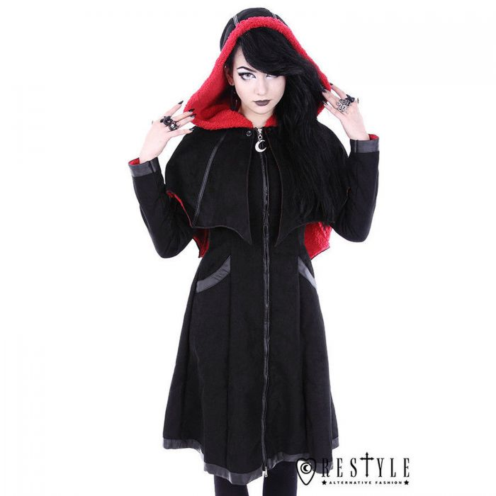 Black and Red Hooded 'Bat' Coat