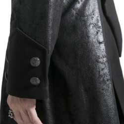 Black Long Jacket 'Black Dragon' with Removable Pointed Hood