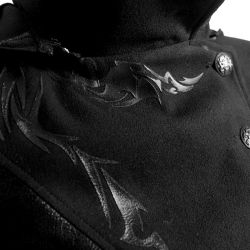 """Veste Longue Noire """"Black Dragon' avec Capuche Pointue Amovible"""