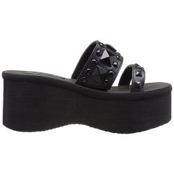 Black Vegan Leather 'FUNN-18' Demonia Platform Slippers