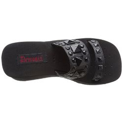 Black Vegan Leather 'FUNN-18' Demonia Platform Slippers