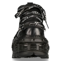 Black Itali Leather New Rock Tank Platform Shoes