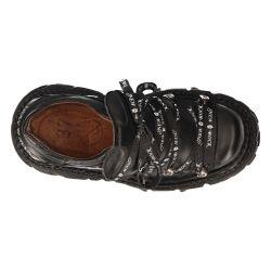 Chaussures Plateformes New Rock Tank en Cuir Itali Noir